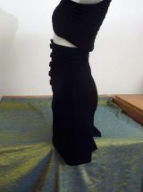 Jupe Crayon Taille Haute Mi Longue Noir-Taille 36- Sisley