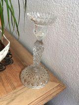 Bougeoir vintage en verre .