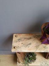 Sellette vintage marbre et pieds laiton