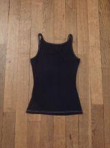 Top À Bretelles En Coton Noir Coutures Beige- Taille Xs-H&m