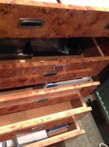 Ancien comptoir de bijouterie placage loupe d'orme style art