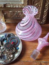 Flacon parfum verre Murano / Venise rose