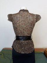 Top / Chemise à manches courtes panthere beige/noir-36- Mim