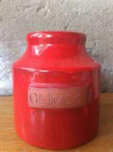 Pot à olives en céramique rouge signé Cloutier