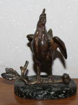 Ancienne statuette coq en bronze socle marbre