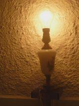 pied de  lampe laiton et opaline
