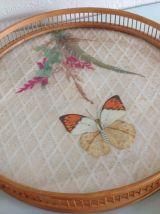 Set Papillon vintage plateau de service avec 6 dessous de ve