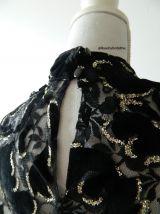 Blouse baroque velours dentelle et strass vintage 80s