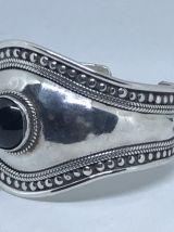 rare Bracelet ancien en Argent Massif ONYX
