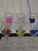 Set de 6 glaçons colorés en verre design