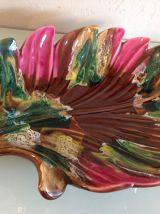 Ceramique de Vallauris / Grande coupe ou plat polychrome en
