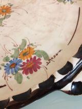 JEROME MASSIER VALLAURIS /Plat rond vintage motifs fleurs et