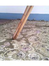 Table basse en rotin et plateau verre
