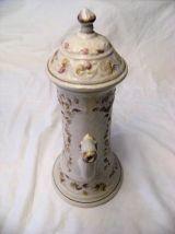 Théière carafe en grès émaillé motif floral signée