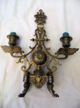 Chandelier bougeoir en Bronze doré 2 bougies