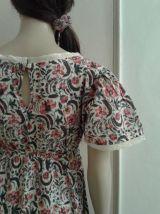 Robe longue coton indien écru et multicolore/fleurs