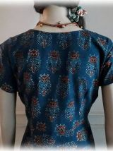 Robe/tunique coton indien imprimé à la main,Indigo,rouge,S/M