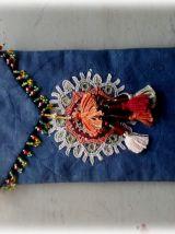 Pochette  bandoulière téléphone,trousse,indigo,perles,Inde