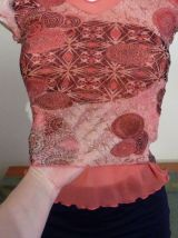 Top A Manches Courtes Rose- Taille 34/36- In Extenso