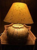 Lampe au pied en fibre naturelle,bambou et osier.