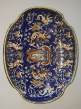 5 pieces  en Faience de Gien Bleu Renaissance + 14 assietes