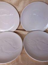 Assiette à poissons en faïence blanche / Assiette céramique