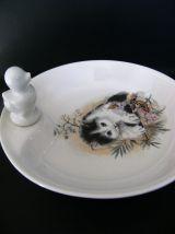 Assiette chauffante à bouillie porcelaine signée