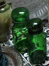 Lot de 2 pots verre vert 1960