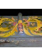 Petit panier vendange peint main et signé