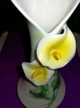Vase porcelaine Vintage déco arum