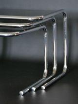 Tables gigognes structure chromée et plateaux verre fumé 197