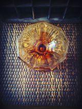 Art déco - soliflore - vase en verre ambré moulé
