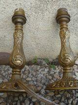 lot de 2 lampes anciennes en laiton, vintage
