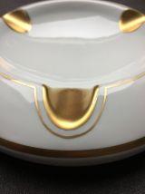 Cendrier en porcelaine de Baudour liseré doré art deco