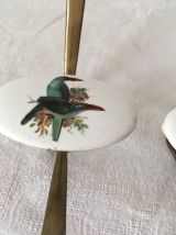 Duo de patères en laiton avec oiseaux années 60.