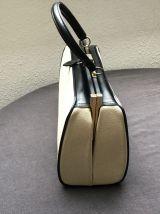 Sac porté main esprit malette beige et noir 1950