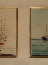 Deux aquarelles marines signées