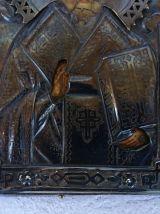 """Icône Russe avec Riza en argent """"Saint Nicolas"""" - 1886"""
