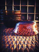 vintage coupelle en verre soufflé ambré BIOT
