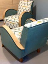 Lot de 2 fauteuils art deco années 50 entièrement restaurés