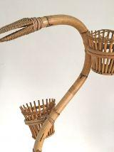 Porte plante en rotin vintage 60's en forme de serpent