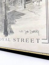 Lithographie ROYAL STREET New Orleans Don Davey - Sous Verre
