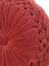 Coussin vintage en velours plissé