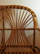Canapé vintage deux places en bambou, inspiration peacock