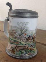 Chope à bière allemande - Etain et faïence