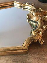 Grand miroir mural ancien doré, style vénitien