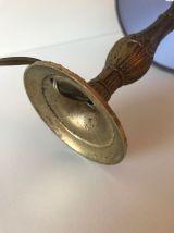 Lampe fine pied bronze, abat-jour tissu gris
