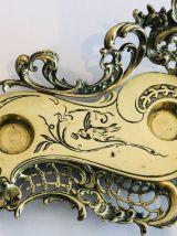 Encrier en laiton doré forme rocaille style Louis XIV
