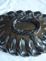 Corbeille en ceramique tressee noire et jaune