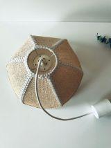 Suspension luminaire vintage fleurs tressé style cannage